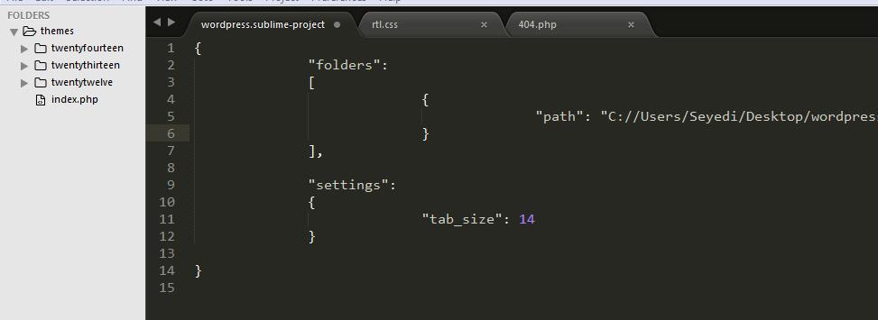 تنظیمات مخصوص به پروژه