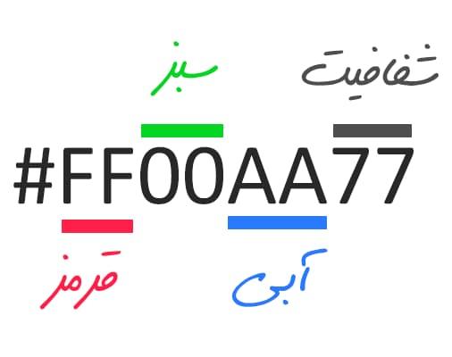 8 digit color کد رنگی چهار و همچنین هشت رقمی